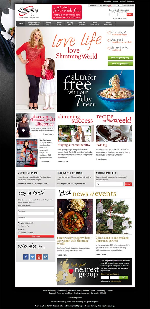 Screen print of the Slimming World homepage from December 2014